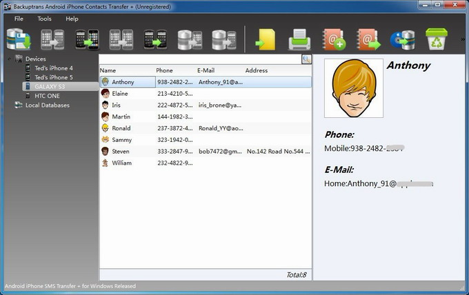 Manage iPhone Android Contacts on PC main
