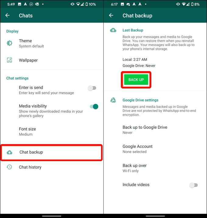 Copy Android WhatsApp data onto computer