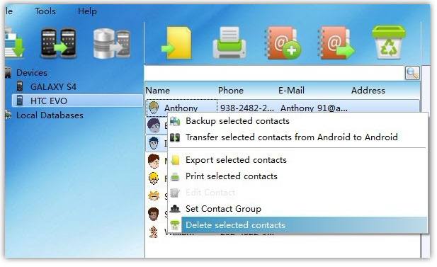 Delete Android Contacts