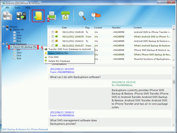 export Android SMS to document file from database