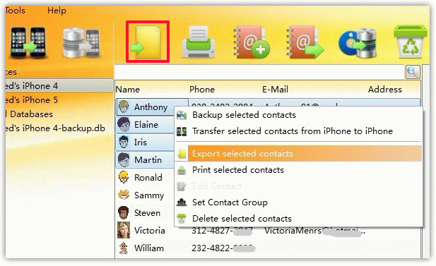 Export selected iPhone Contacts to CSV, vCard, HTML, PDF
