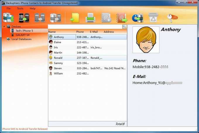 transfer Contacts from iPhone 3GS/4/4S/5 to Galaxy S4 main