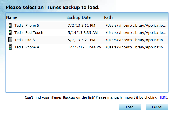 Extract Video/Photo/SMS/Contact/Note etc From iTunes Backup on Mac - Load