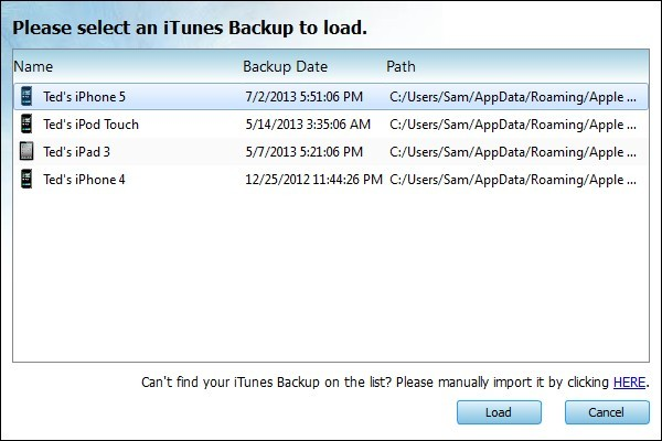 Recover iPhone Call History from iTunes Backup - Load