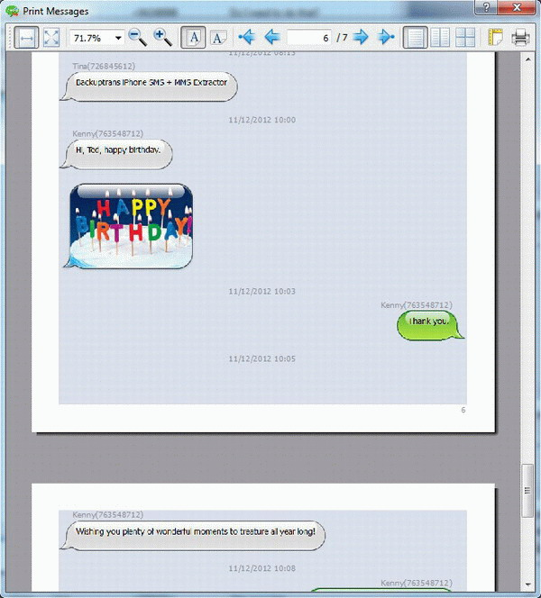preview before printing iPhone SMS & MMS on PC