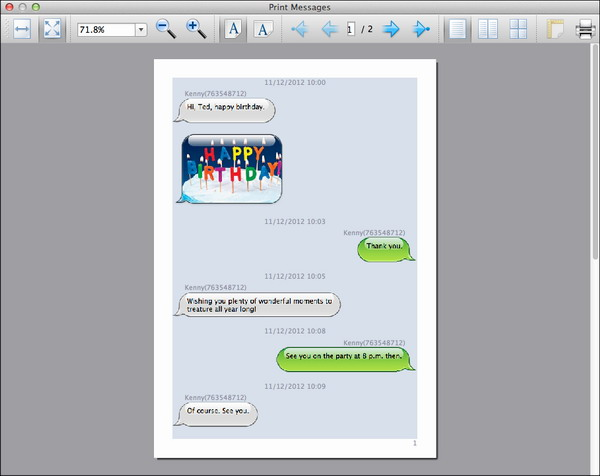 preview before printing SMS MMS messages from iPhone on Mac