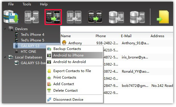 transfer all Contacts between Android and iPhone
